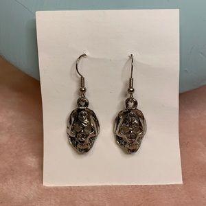 Silver Tone Skull Dangly Earrings